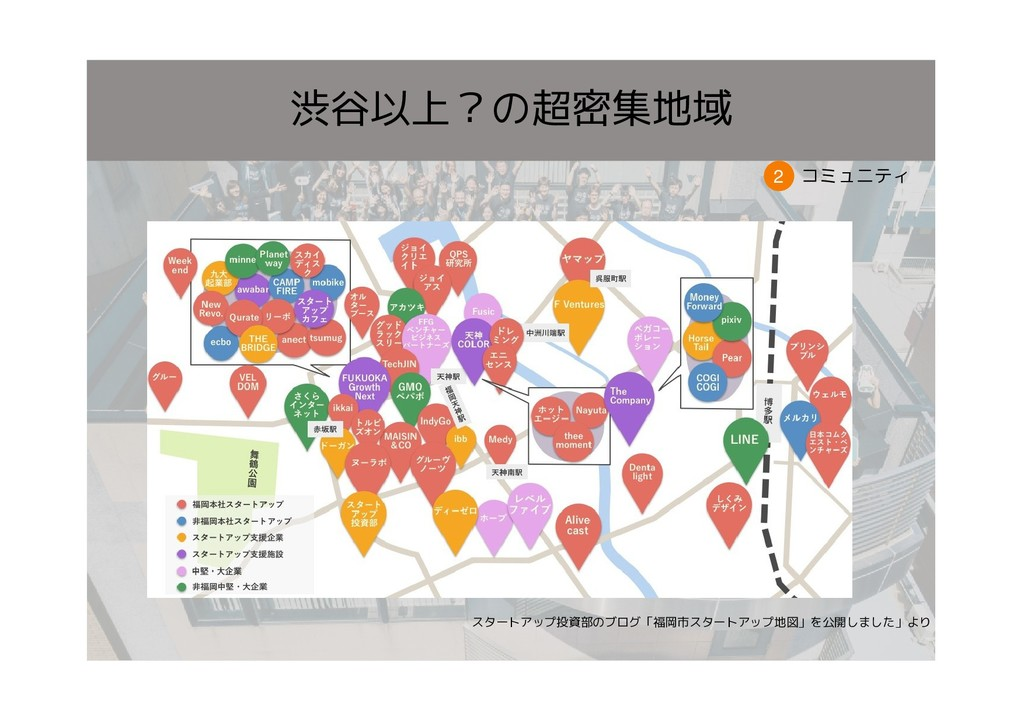 コミュニティ 2 渋谷以上?の超密集地域 スタートアップ投資部のブログ「福岡市スタートアップ地...
