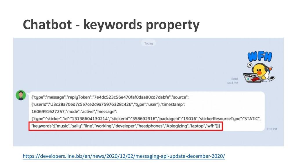 Chatbot - keywords property https://developers....