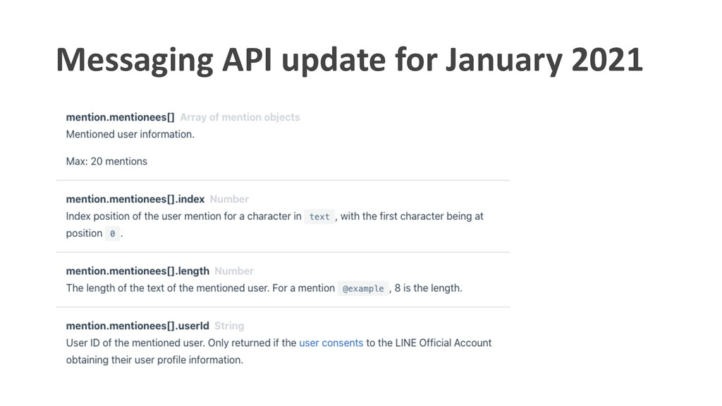 Messaging API update for January 2021