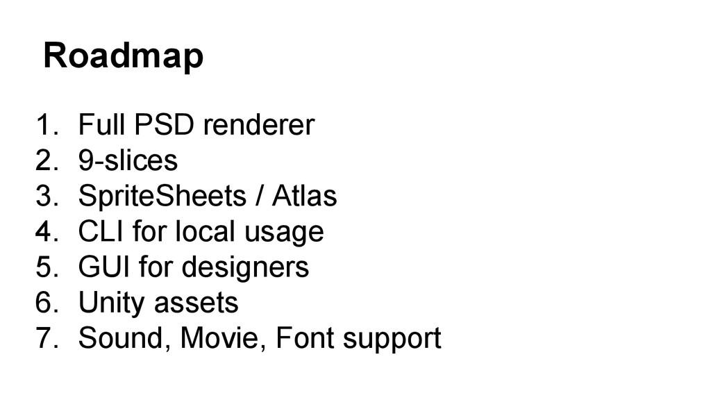 Roadmap 1. Full PSD renderer 2. 9-slices 3. Spr...