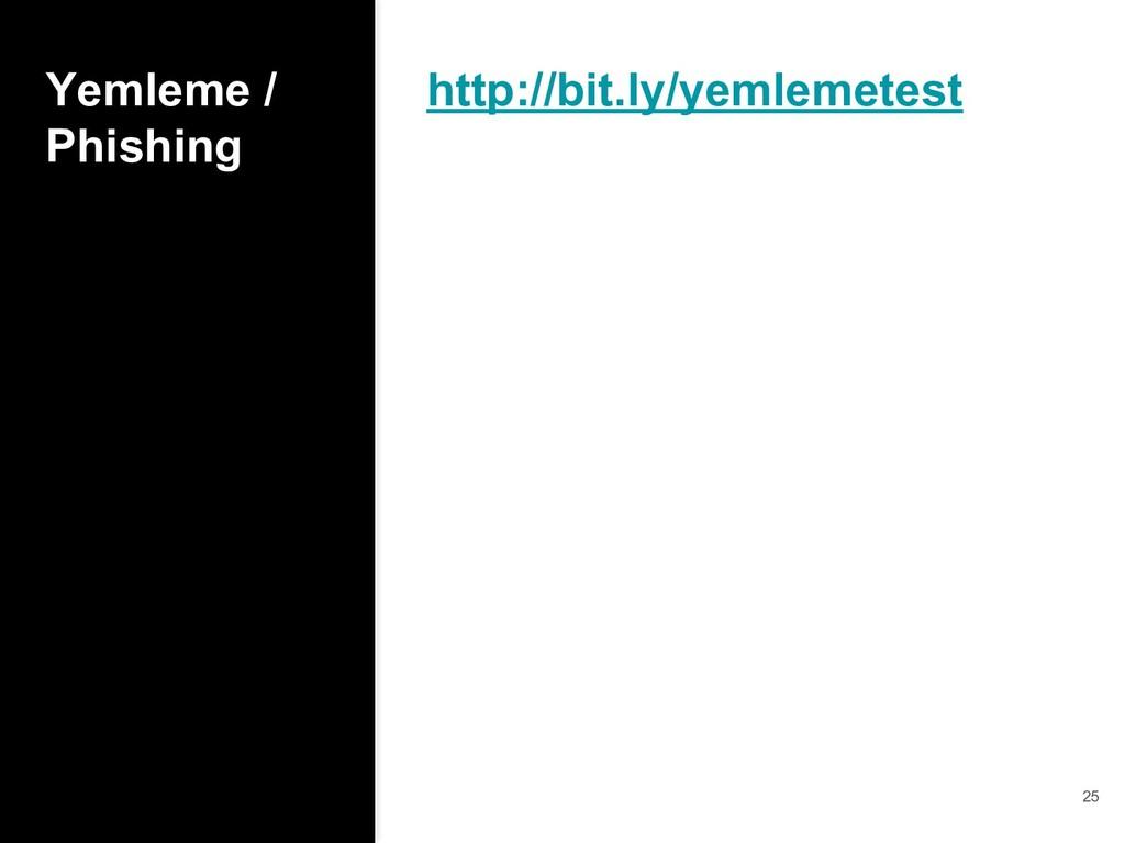 Yemleme / Phishing http://bit.ly/yemlemetest 25