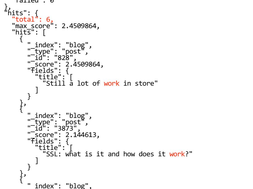 """failed"": 0 }, ""hits"": { ""total"": 6, ""max_score..."