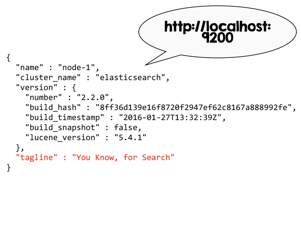 """{ """"name"""" : """"node-1"""", """"cluster_name"""" : """"elastics..."""
