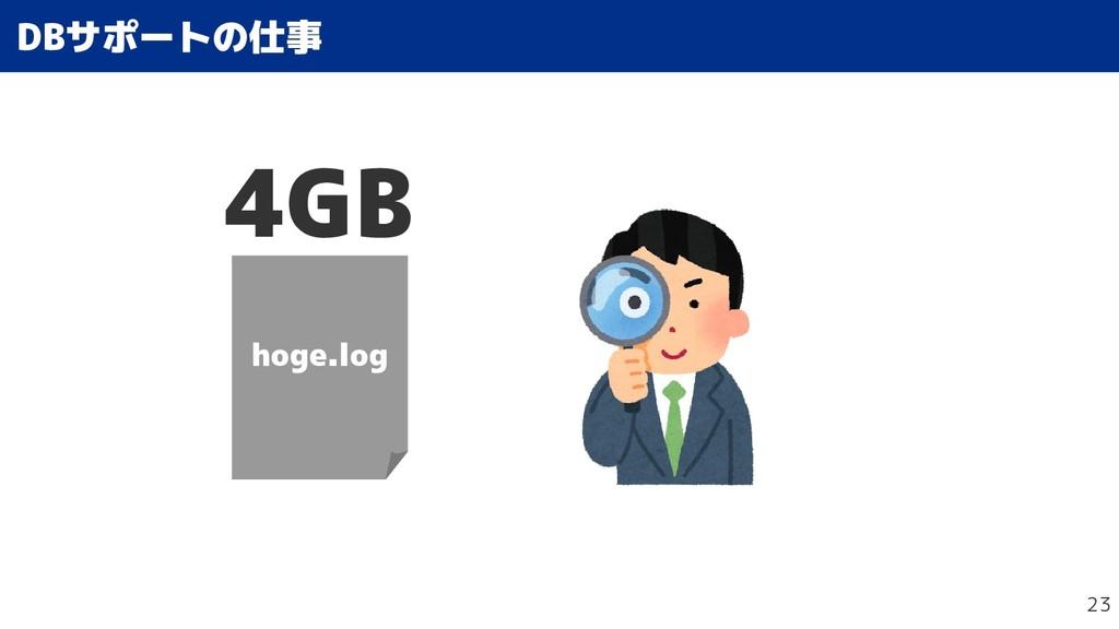 23 DBサポートの仕事の仕事 hoge.log 4GB