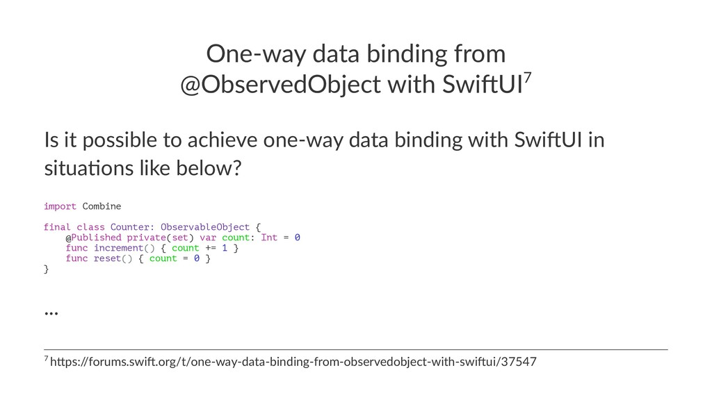 One-way data binding from @ObservedObject with ...