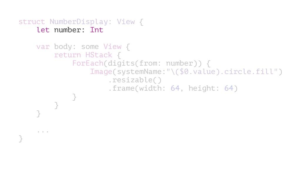 struct NumberDisplay: View { let number: Int va...