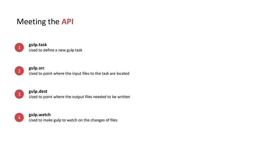 Meeting the API gulp.task Used to define a new ...