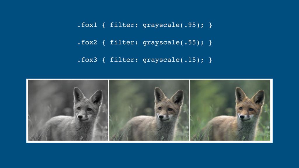 .fox1 { filter: grayscale(.95); } .fox2 { filte...