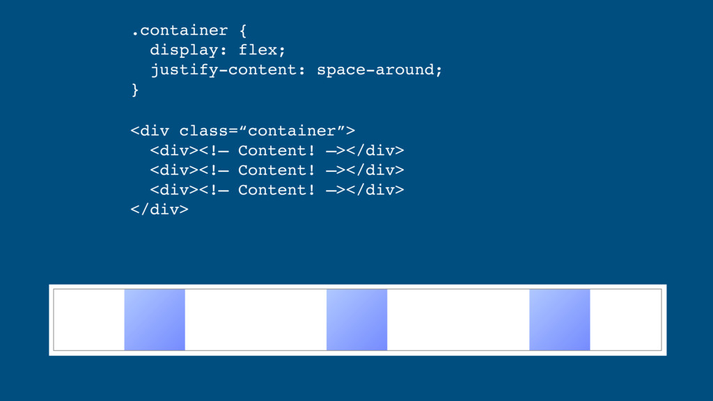 .container { display: flex; justify-content: ...