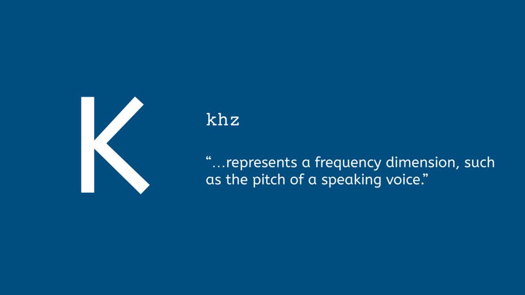 "K khz  ""…represents a frequency dimension, su..."