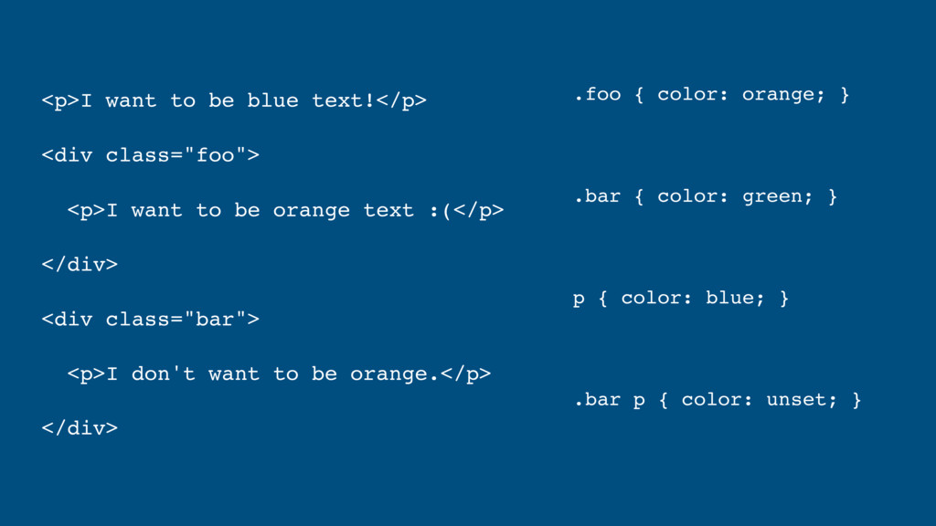 """<p>I want to be blue text!</p> <div class=""""foo""""..."""