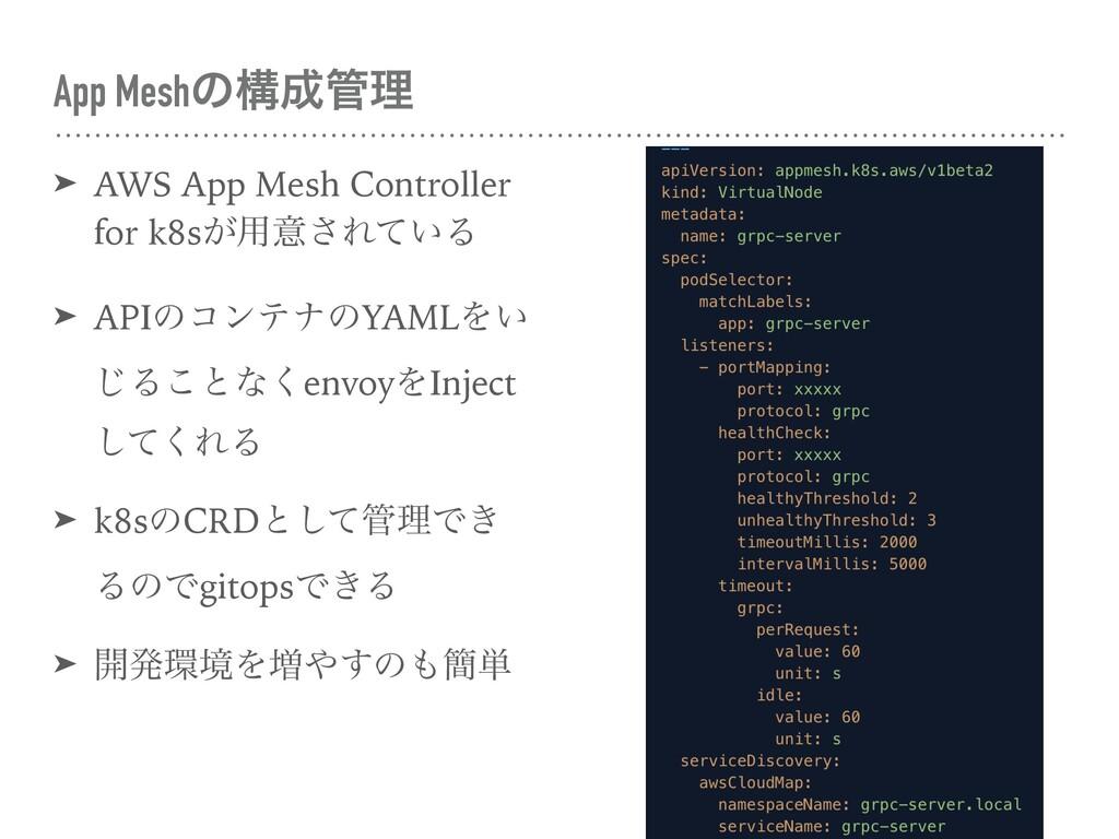 App Meshͷߏཧ ➤ AWS App Mesh Controller for k8s...