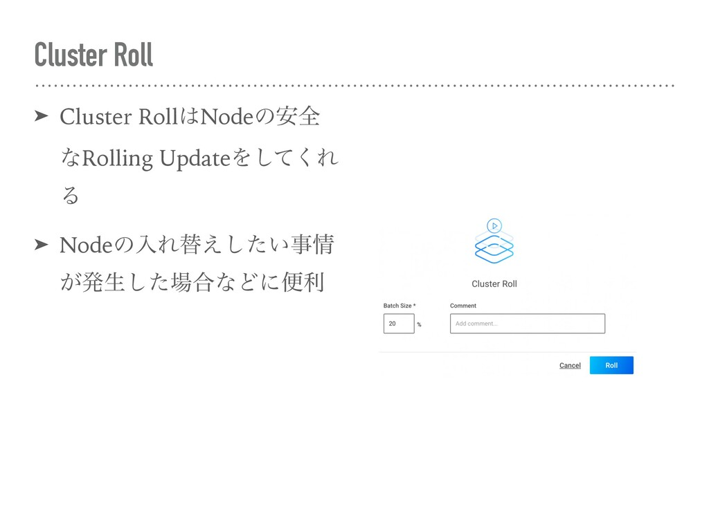 Cluster Roll ➤ Cluster RollNodeͷ҆શ ͳRolling Up...