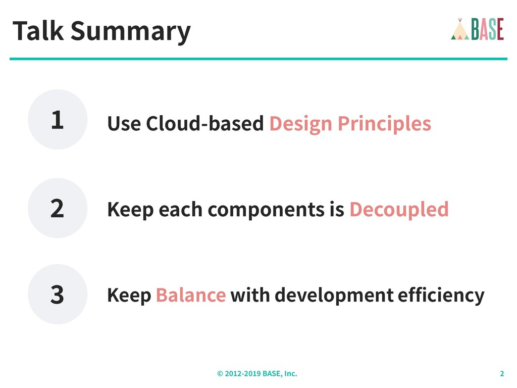 © - BASE, Inc. Talk Summary Keep each component...