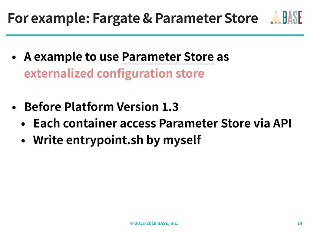 © - BASE, Inc. For example: Fargate & Parameter...