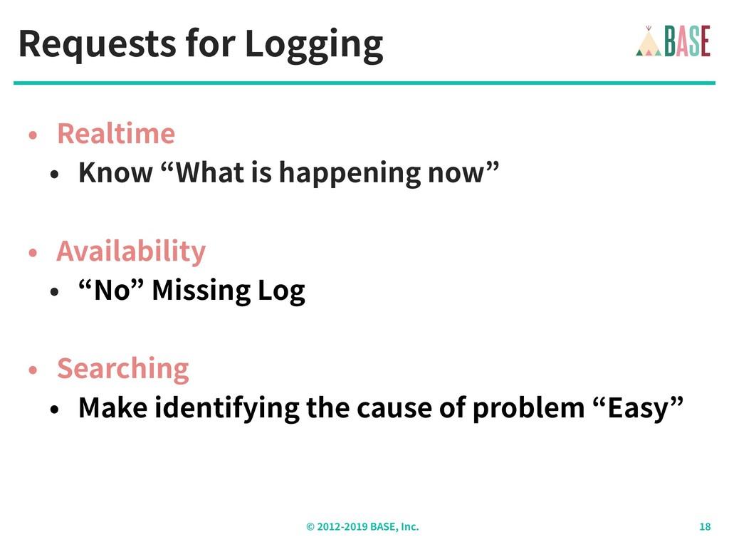 © - BASE, Inc. Requests for Logging • Realtime ...