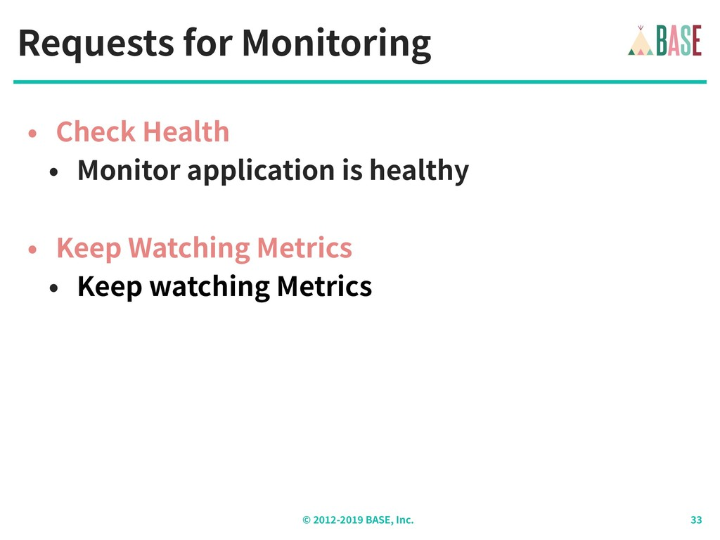 © - BASE, Inc. Requests for Monitoring • Check ...