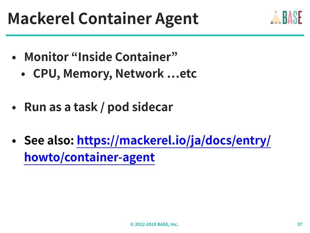 © - BASE, Inc. Mackerel Container Agent • Monit...