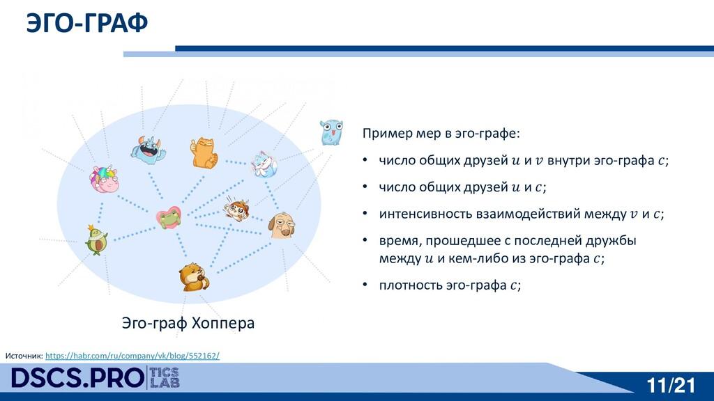 11/21 11/21 ЭГО-ГРАФ Пример мер в эго-графе: • ...