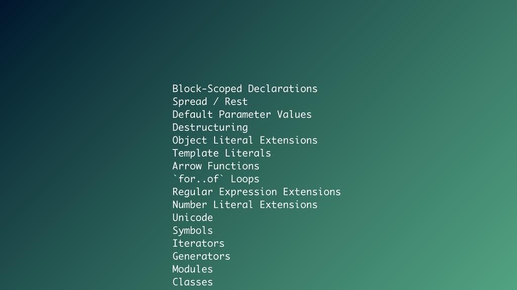 Block-Scoped Declarations Spread / Rest Default...