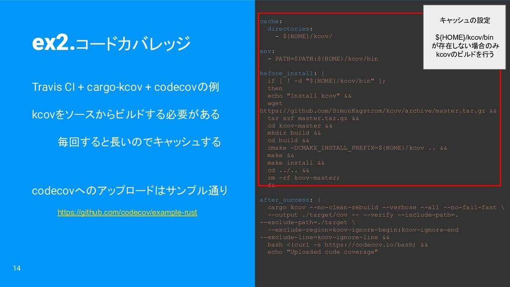 14 Travis CI + cargo-kcov + codecovの例 kcovをソースか...