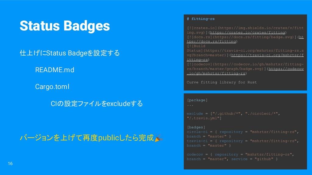 16 仕上げにStatus Badgeを設定する README.md Cargo.toml C...