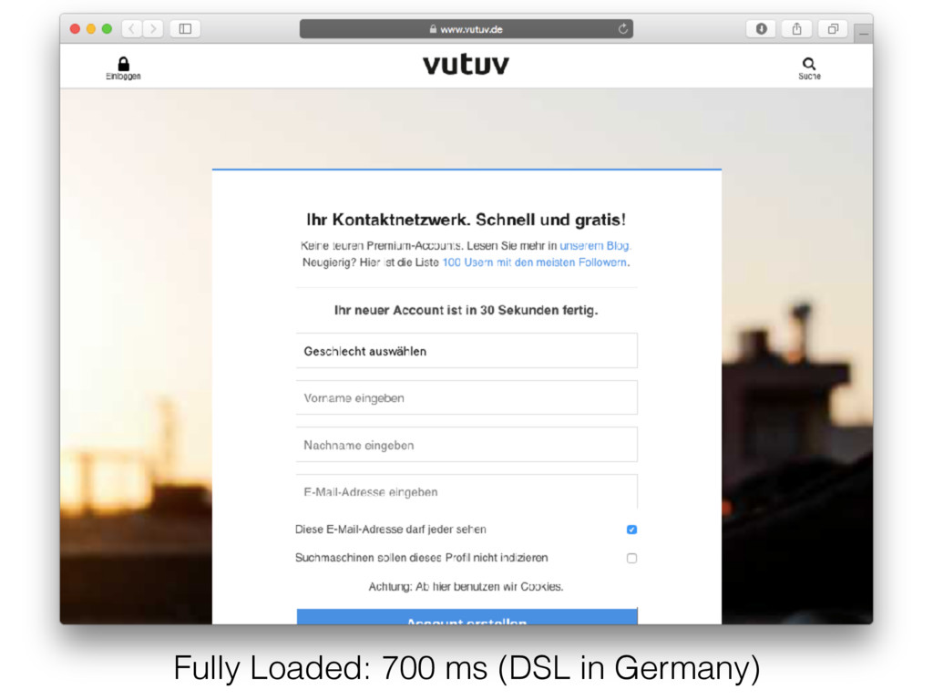 Fully Loaded: 700 ms (DSL in Germany)
