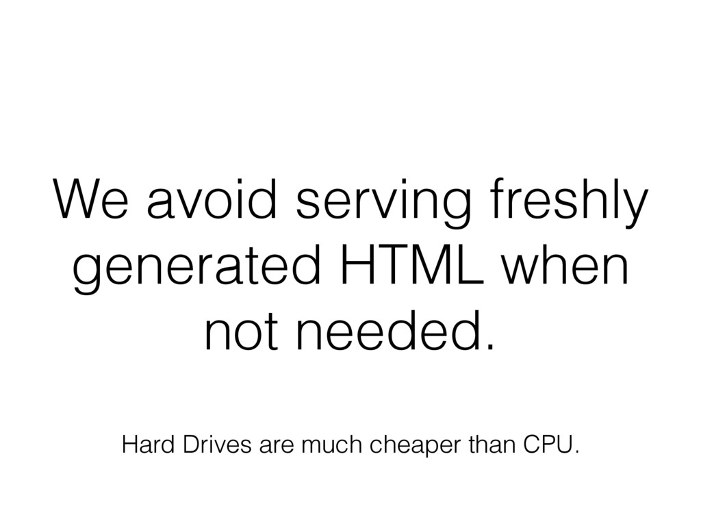 We avoid serving freshly generated HTML when no...