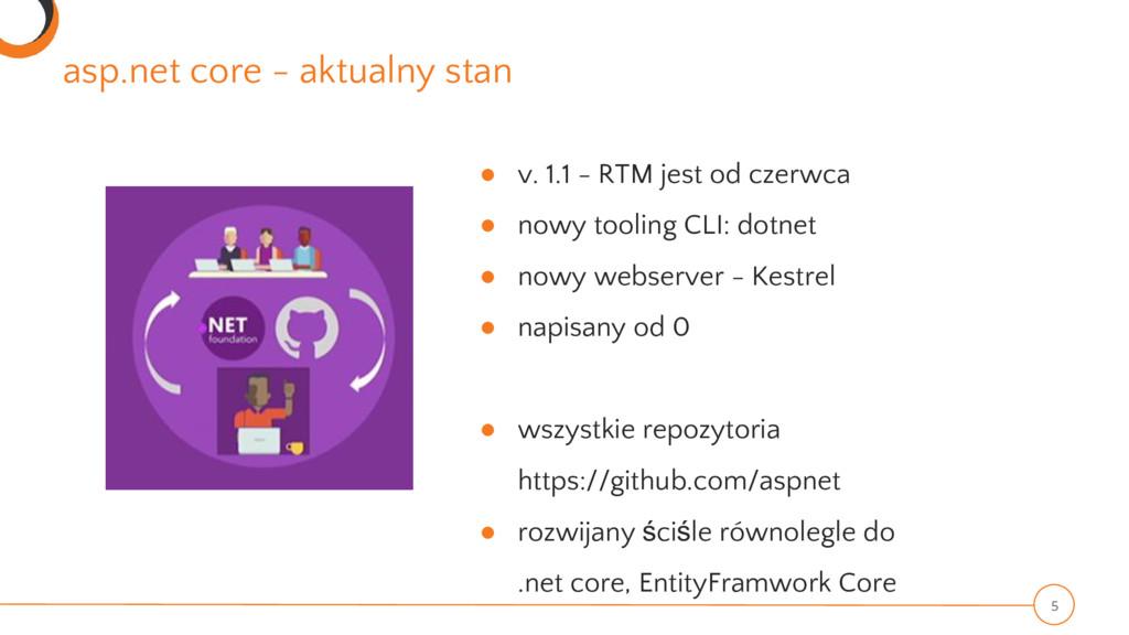 asp.net core - aktualny stan 5 ● v. 1.1 - RTM j...