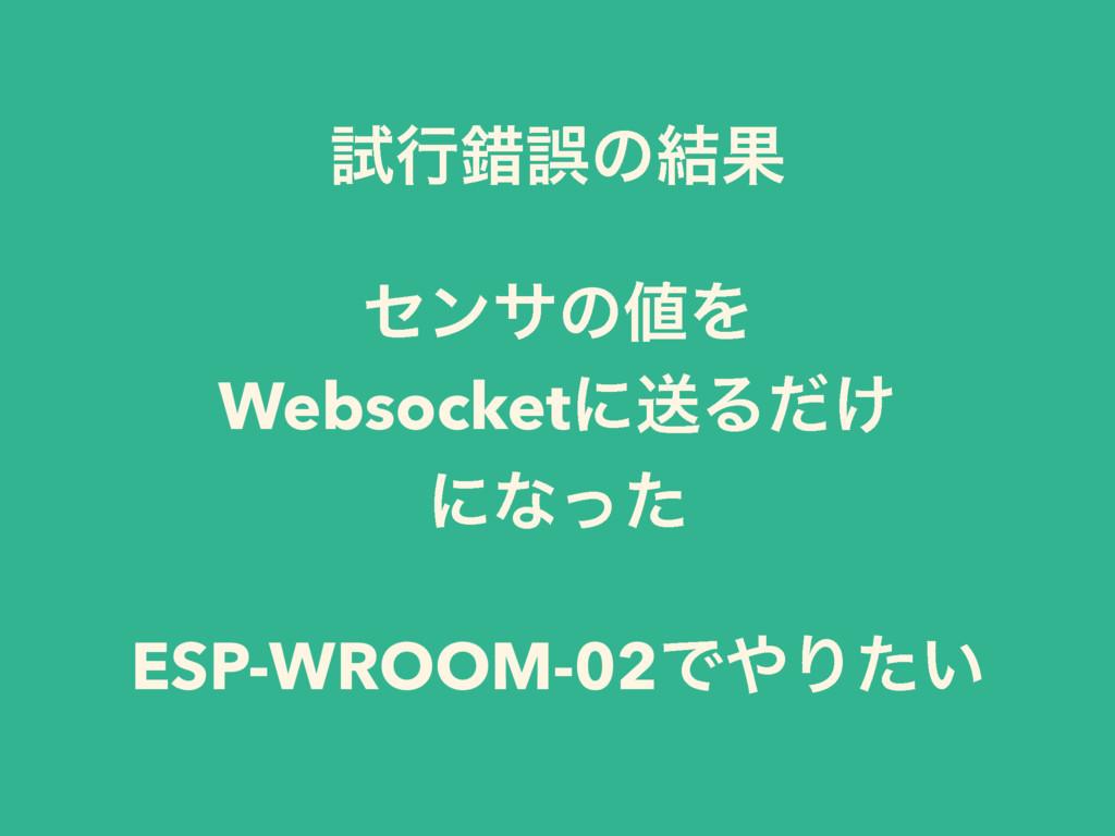 ࢼߦࡨޡͷ݁Ռ ηϯαͷΛ WebsocketʹૹΔ͚ͩ ʹͳͬͨ ESP-WROOM-02...