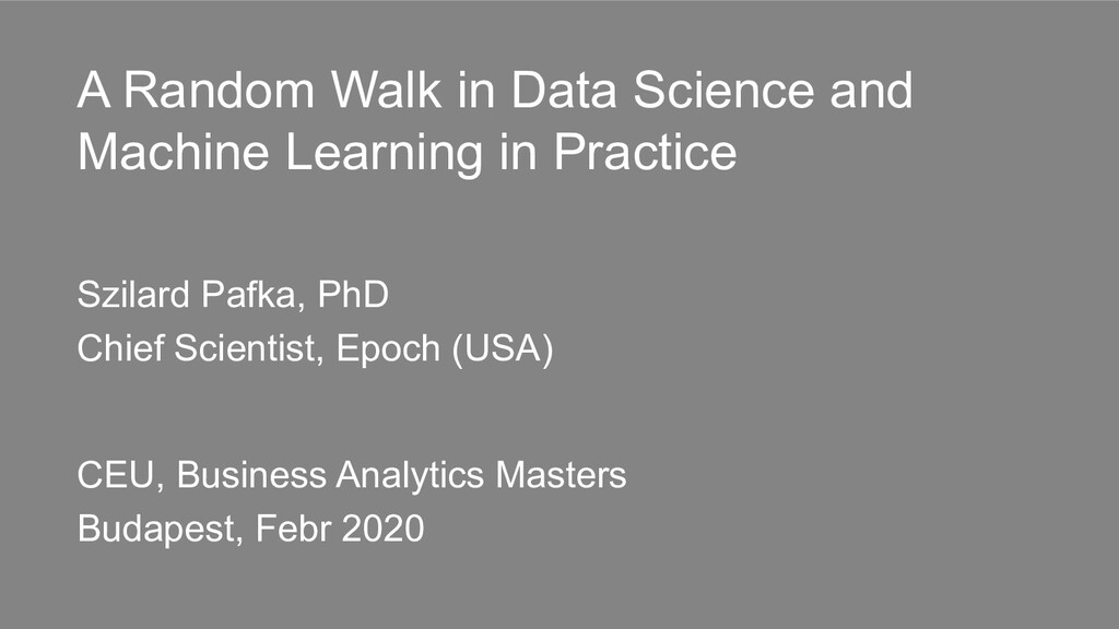 A Random Walk in Data Science and Machine Learn...