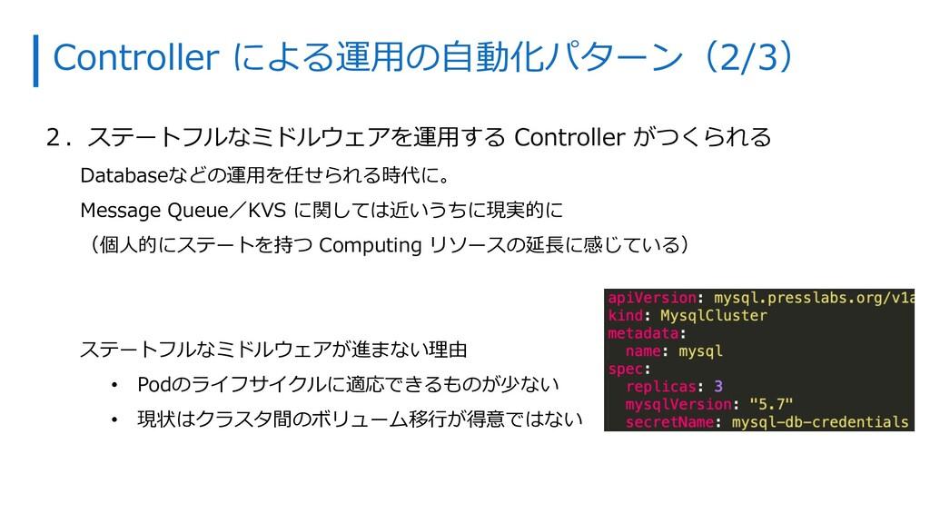 Controller による運⽤の⾃動化パターン(2/3) 2.ステートフルなミドルウェアを運...