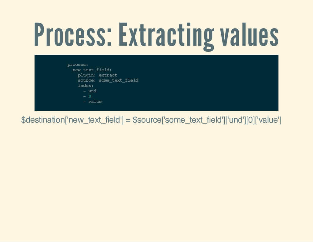 Process: Extracting values p r o c e s s : n e ...