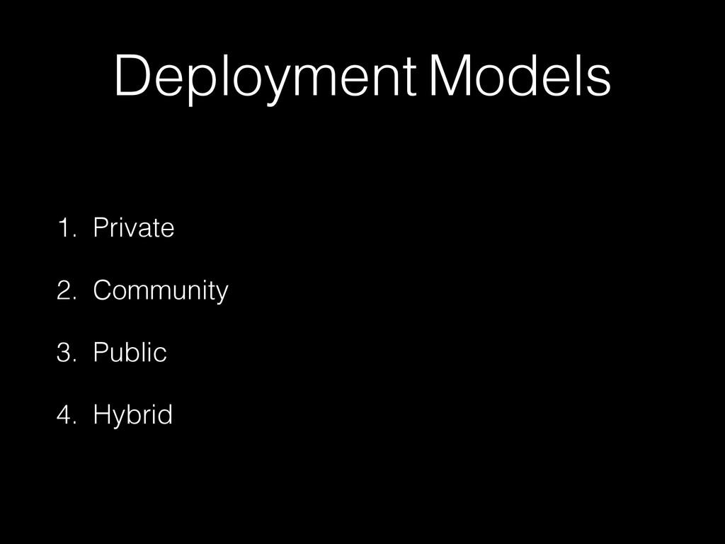 Deployment Models 1. Private 2. Community 3. Pu...