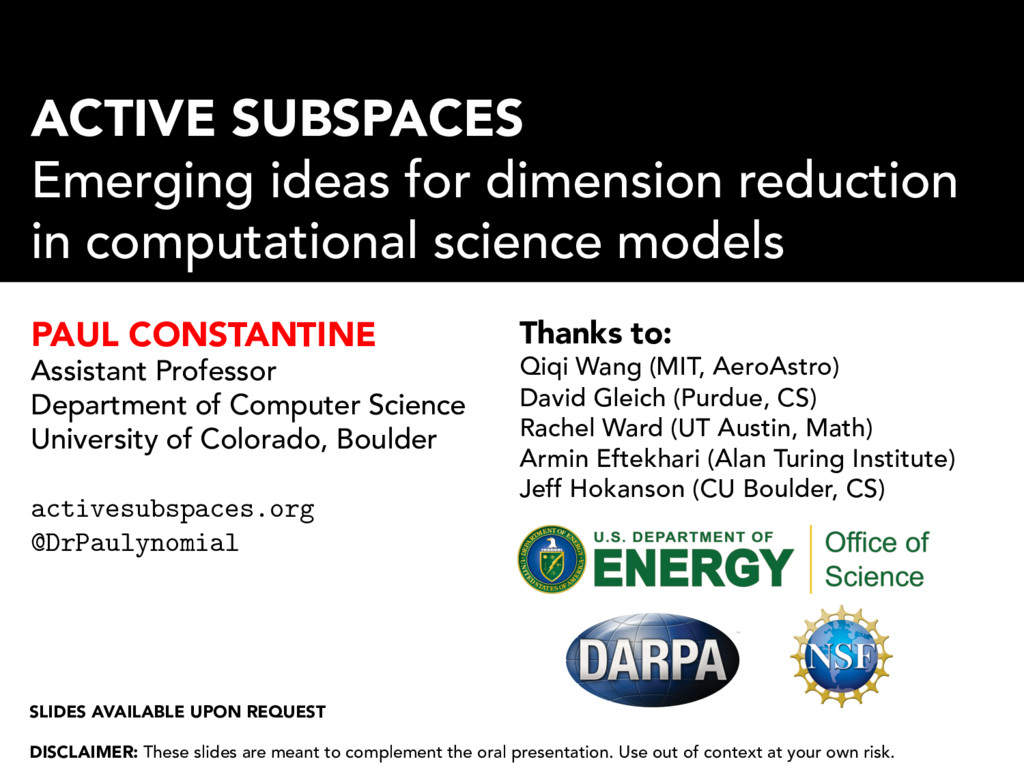ACTIVE SUBSPACES Emerging ideas for dimension r...
