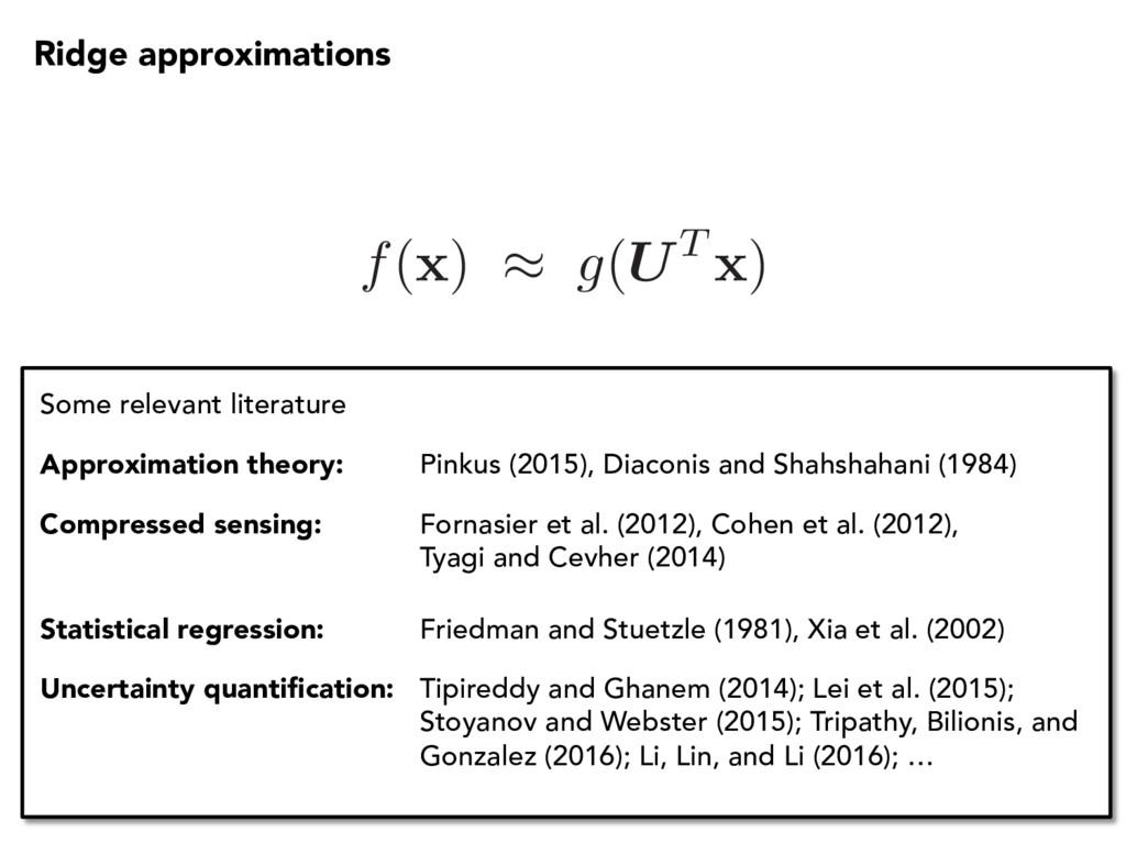 f( x ) ⇡ g(UT x ) Some relevant literature Appr...