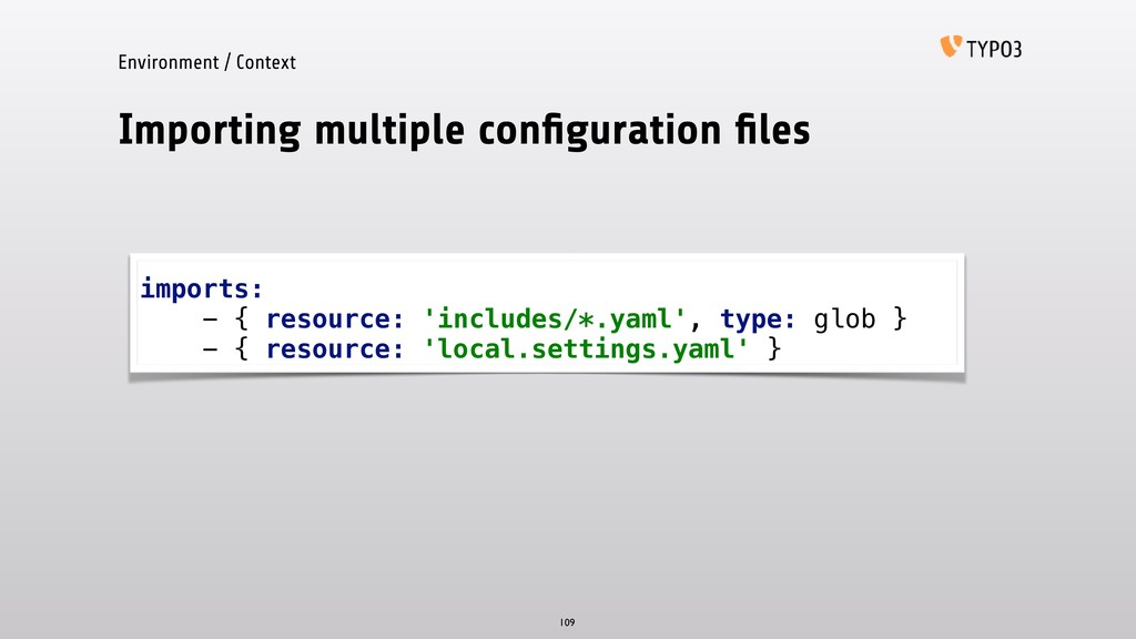 Importing multiple configuration files 109 import...