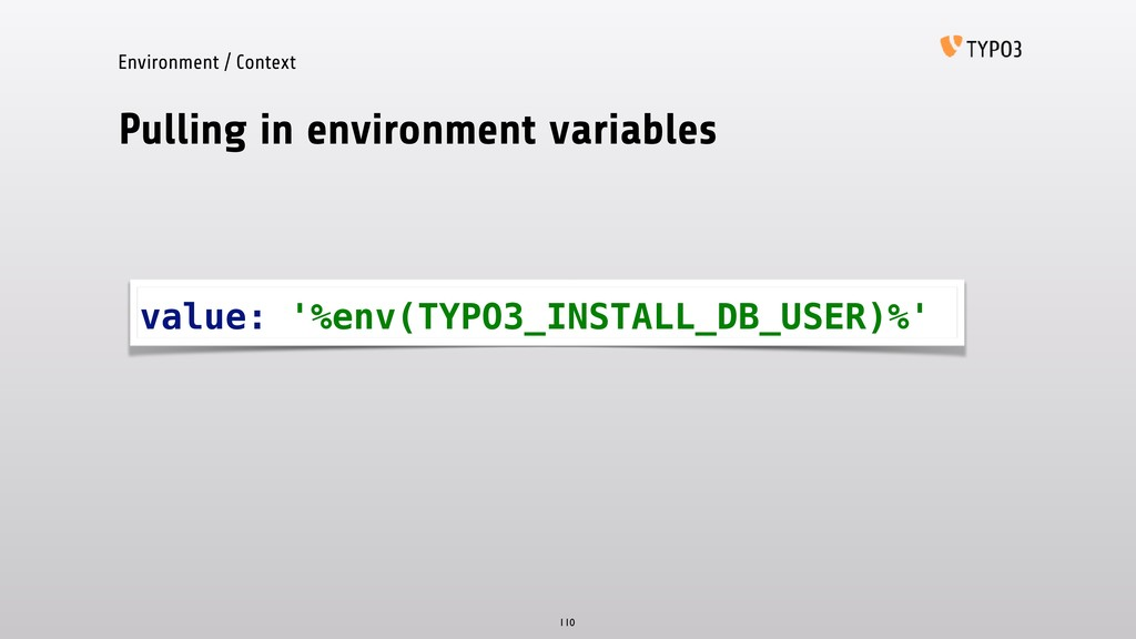 Pulling in environment variables 110 value: '%e...