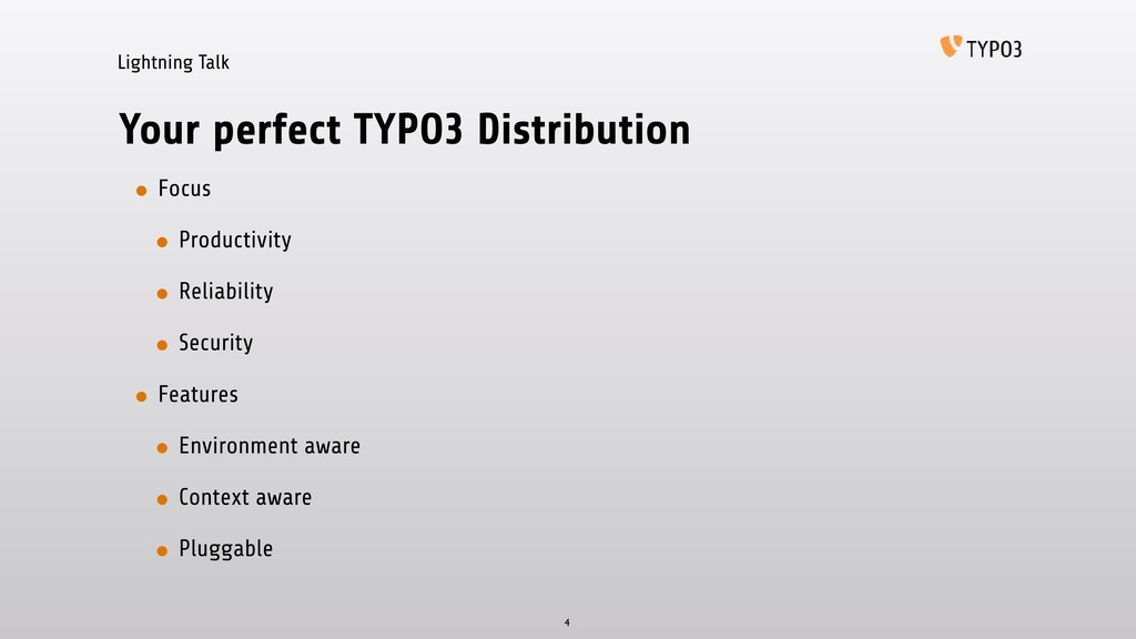 Lightning Talk Your perfect TYPO3 Distribution ...