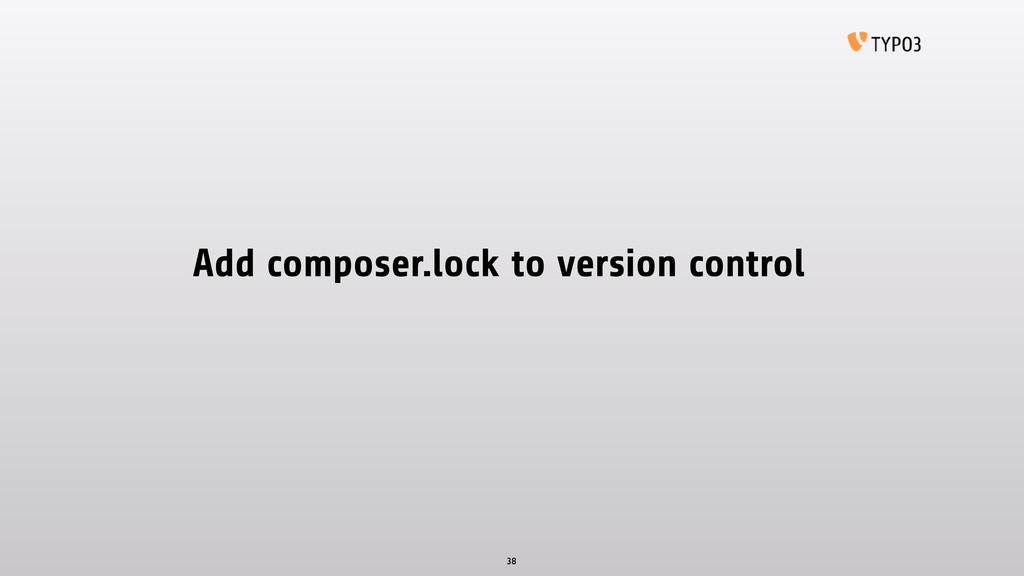 Add composer.lock to version control 38
