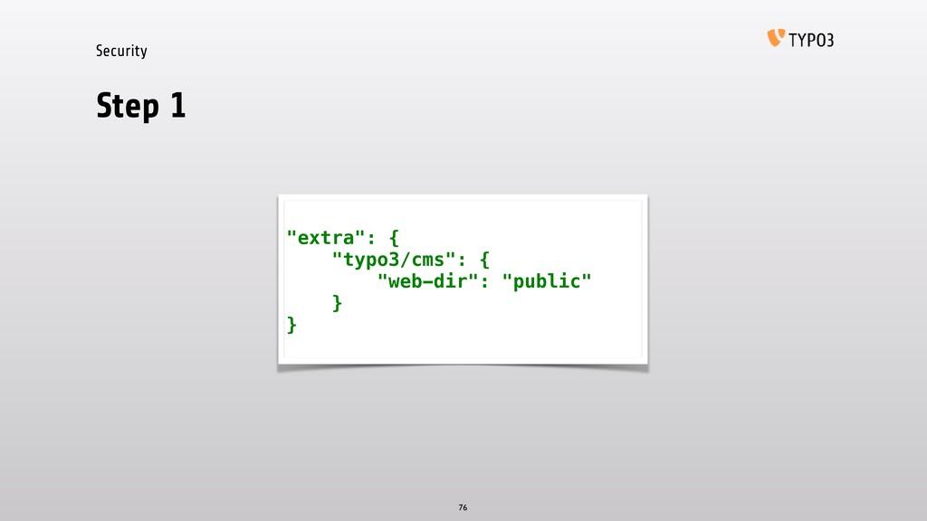 """Security Step 1 76 """"extra"""": { """"typo3/cms"""": { """"w..."""