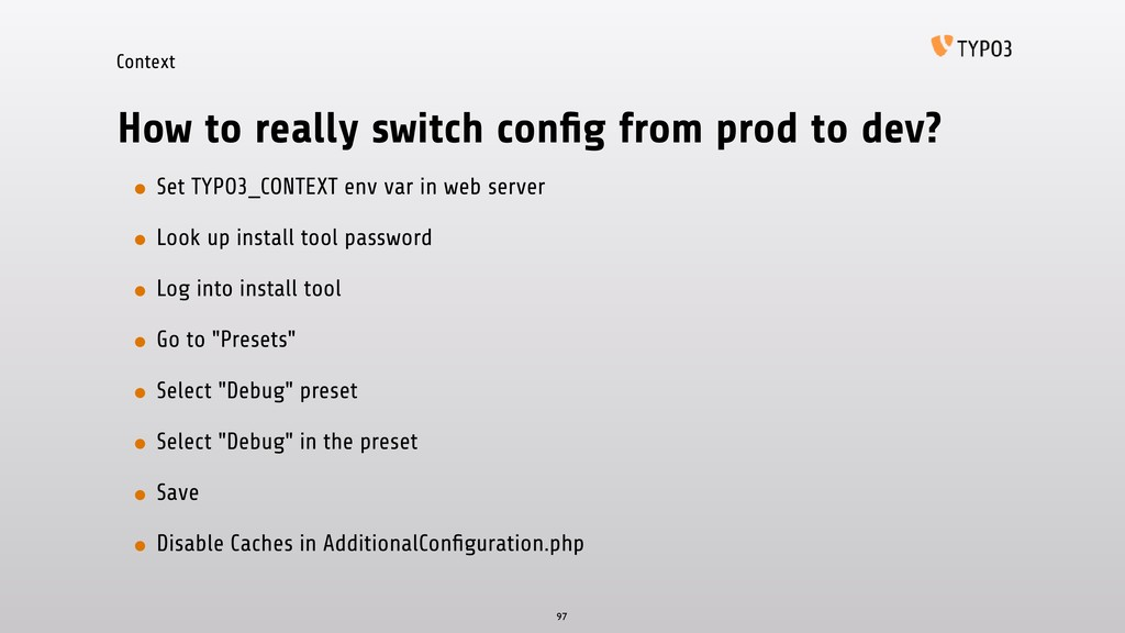 Context How to really switch config from prod to...