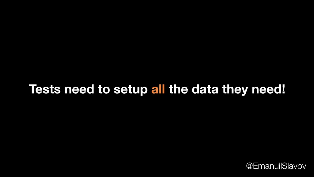 Tests need to setup all the data they need! @Em...