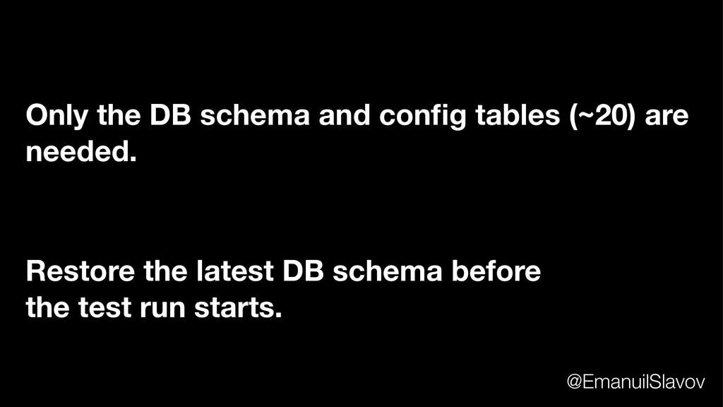 Restore the latest DB schema before the test ru...