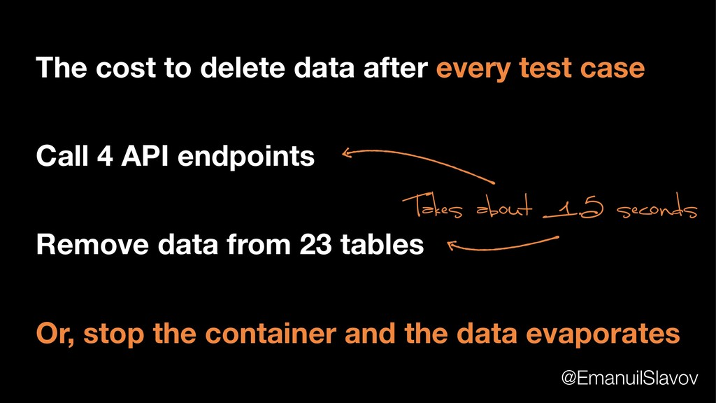 The cost to delete data after every test case C...