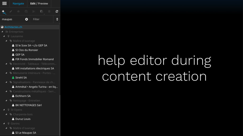 help editor during content creation