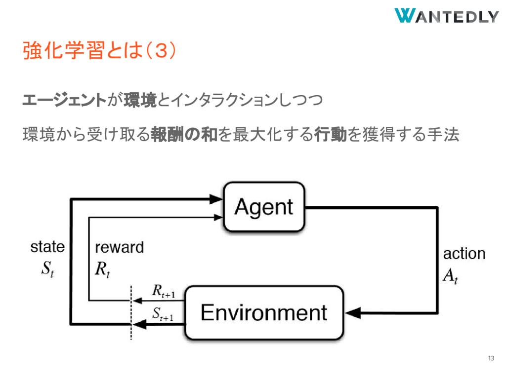強化学習とは(3) エージェントが環境とインタラクションしつつ 環境から受け取る報酬の和を最大...