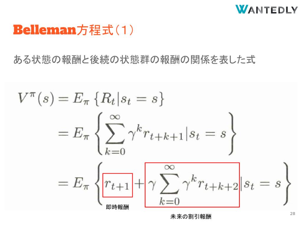 Belleman方程式(1) ある状態の報酬と後続の状態群の報酬の関係を表した式 即時報酬 未...