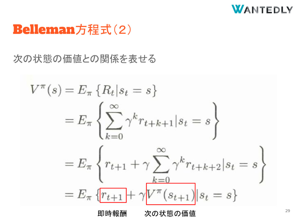 Belleman方程式(2) 次の状態の価値との関係を表せる 次の状態の価値 29 即時報酬