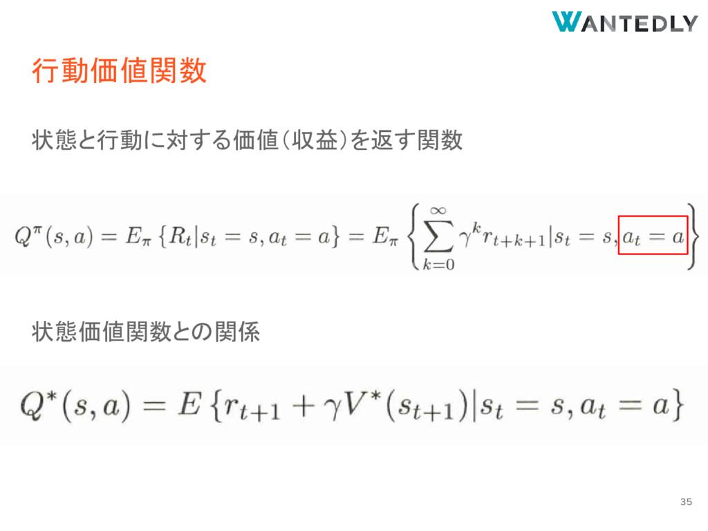 行動価値関数 状態と行動に対する価値(収益)を返す関数 状態価値関数との関係 35